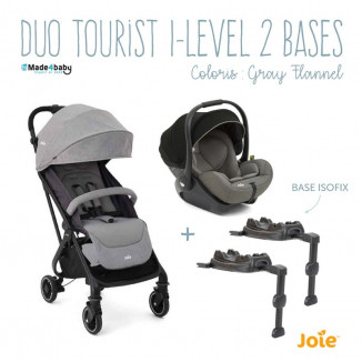 Duo poussette Tourist et Gr0+ i-Size I-Level + 2 bases JOIE Grey flannel