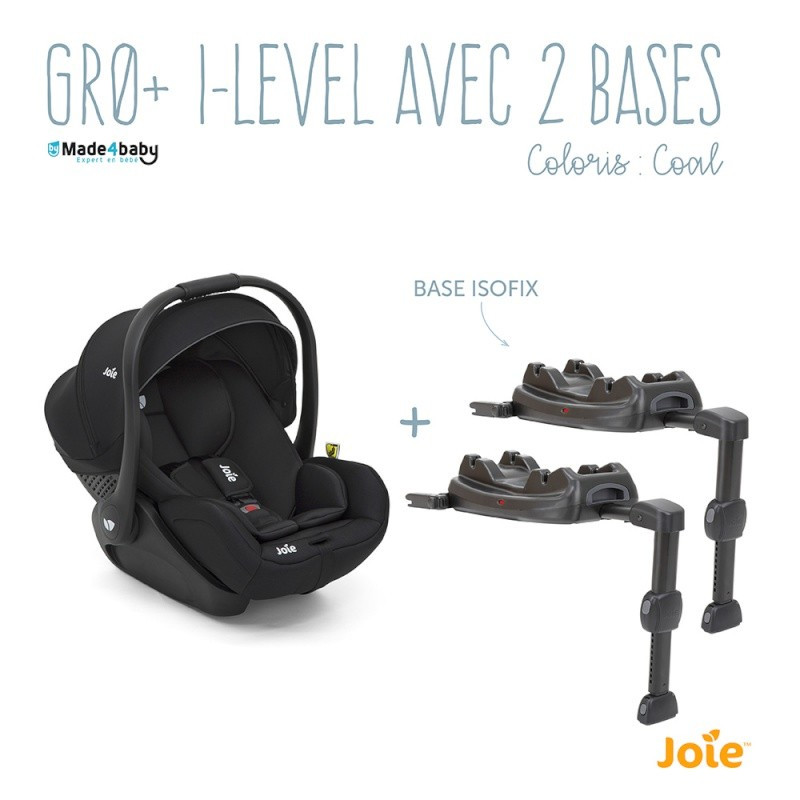 Siège-auto Gr0+ i-Size I-Level + 2 bases JOIE Coal