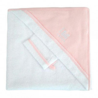 Sortie de bain + gants RED CASTLE Blanc/rose