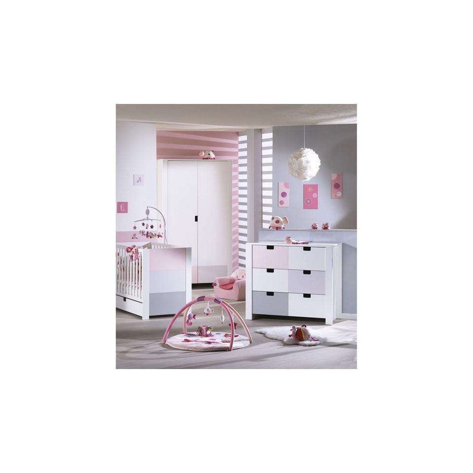 chambre trio city rose sauthon babydrive. Black Bedroom Furniture Sets. Home Design Ideas