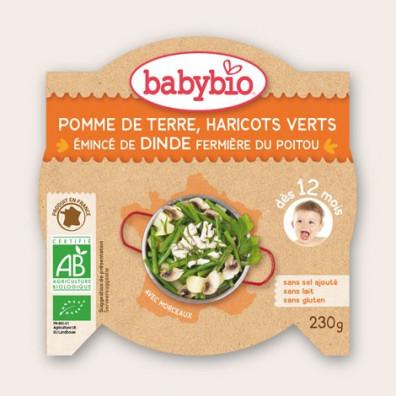 Ptit plat BABYBIO Emincé de Dinde et Haricots Verts 230g 12mois