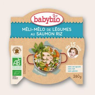 P'tit Plat BABYBIO Méli mélo de légumes / Saumon / Riz 260g 15mois