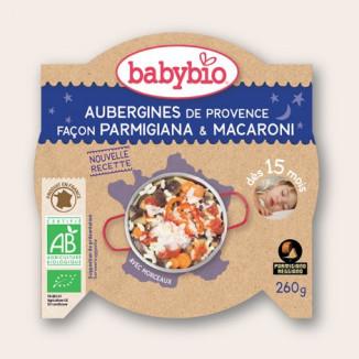 Préparation Bonne Nuit BABYBIO Aubergines façon Parmigiana & Macaronis 260g 15mois