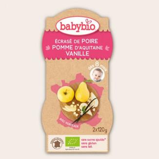 Ecrasé de Fruits BABYBIO Poire Pomme Vanille 2x120g 8mois