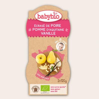 P'tits Fruits BABYBIO Poire Pomme Vanille 2x120g 12mois