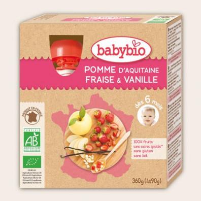 Gourde BABYBIO Pomme Fraise Vanille 4x90g 12mois