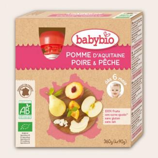 Gourde BABYBIO Pomme Poire Pêche 4x90g 12mois