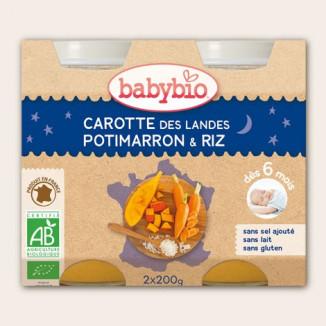 Bonne nuit Carotte Potimarron Riz BABYBIO 2x200g 6mois+