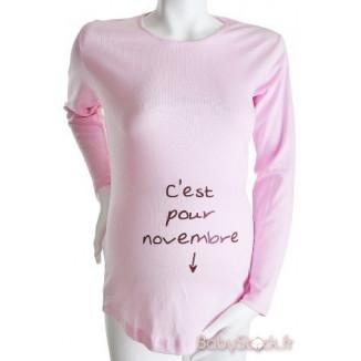 """Tee-shirt Manches longues TU """"C'est pour Mars"""" Rose KELMOI"""