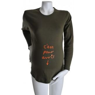 "Tee-shirt Manches longues TU ""C'est pour Avril"" Kaki KELMOI"