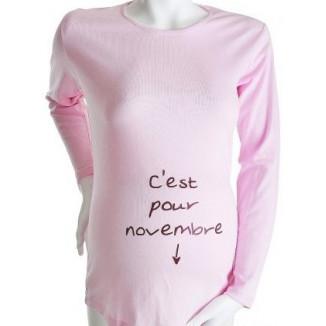 """Tee-shirt Manches longues TU """"C'est pour Novembre"""" Rose KELMOI"""
