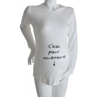 """Tee-shirt Manches longues TU """"C'est pour Novembre"""" Blanc KELMOI"""