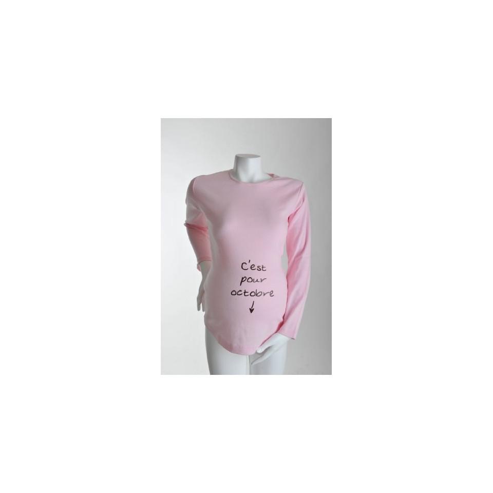 """Tee-shirt Manches longues TU """"C'est pour Octobre"""" Rose KELMOI"""