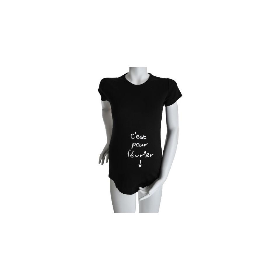 """Tee-shirt Manches courtes TU """"C'est pour Février"""" Noir KELMOI"""