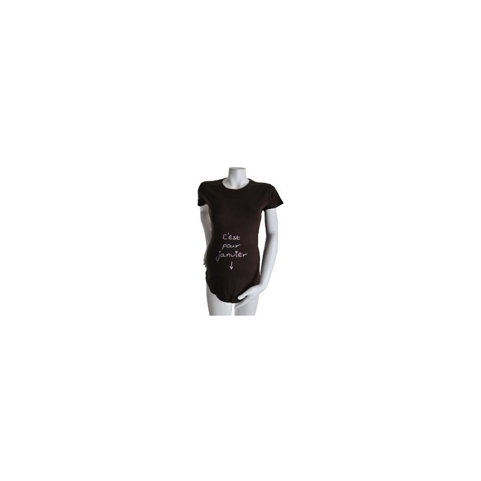 """Tee-shirt Manches courtes TU """"C'est pour Janvier"""" Chocolat KELMOI"""