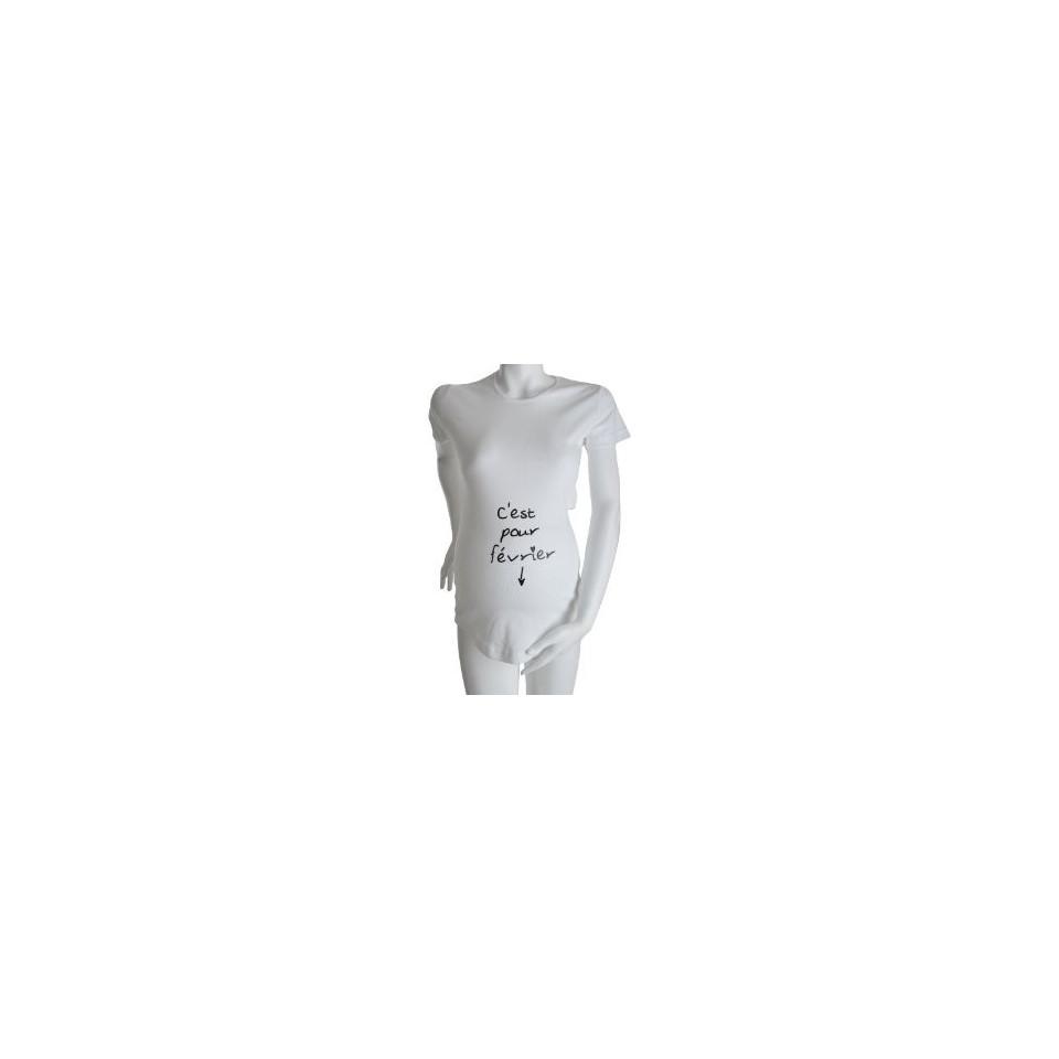 "Tee-shirt Manches courtes TU ""C'est pour Avril"" Blanc KELMOI"
