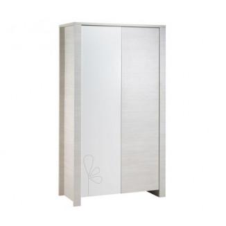 Armoire 2 portes SAUTHON Opale blanc avec motif