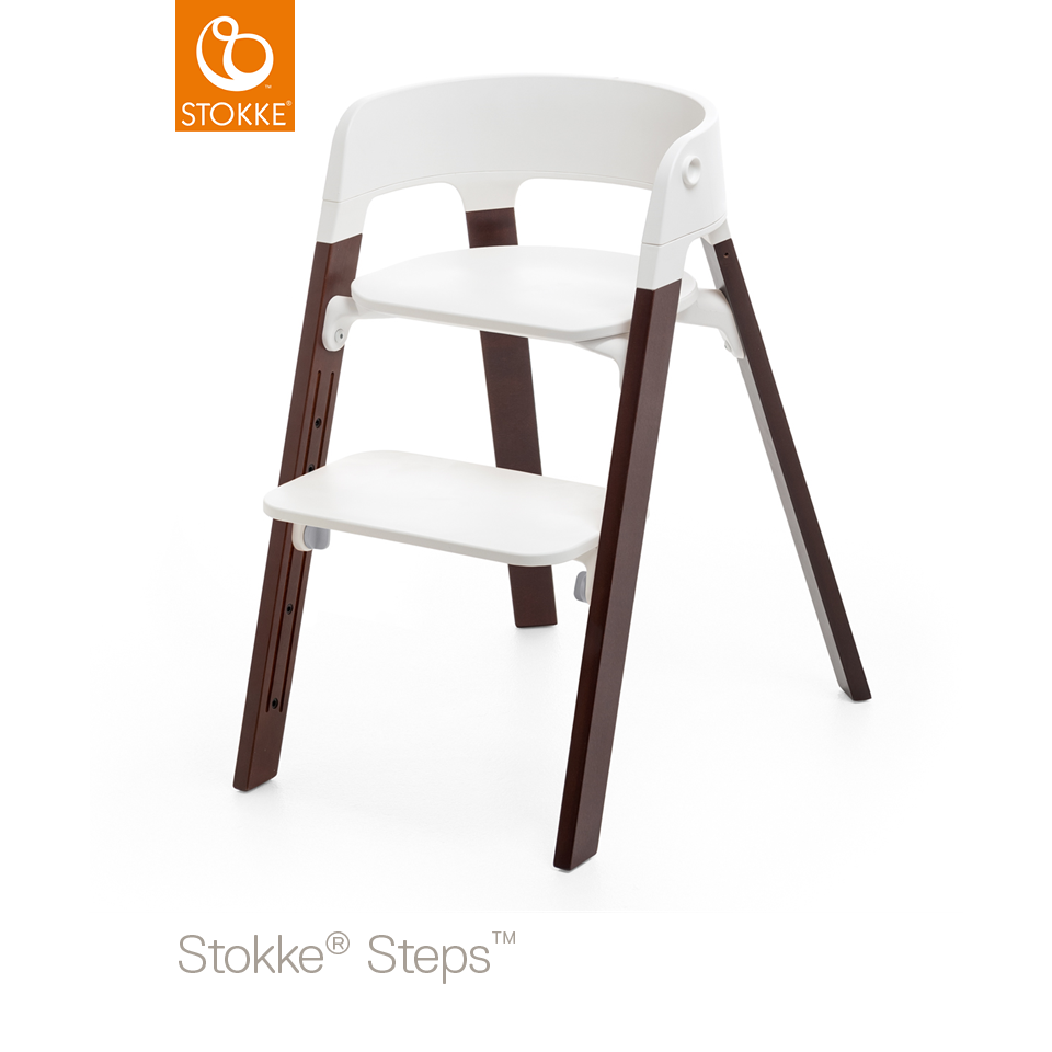 chaise haute steps stokke brun noyer babydrive. Black Bedroom Furniture Sets. Home Design Ideas