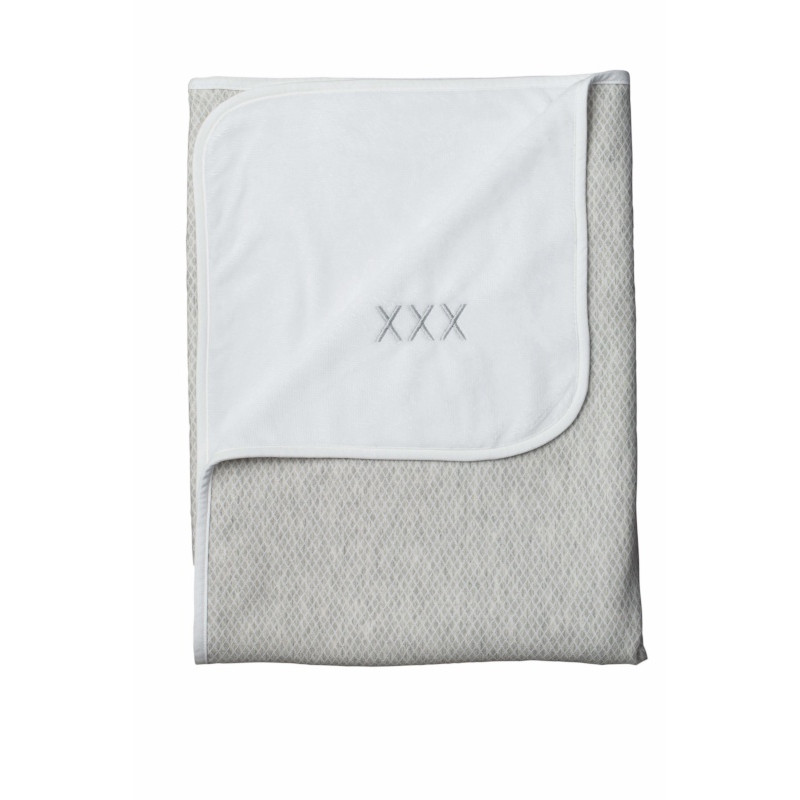 Couverture de lit bambou 100x150 Sweet Kisses VACO Carré gris/Blanc