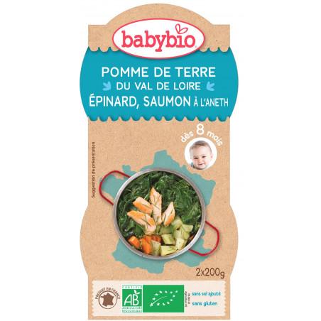 Menu BABYBIO Pommes de terre/Epinards/Saumon 2x200g 8 mois