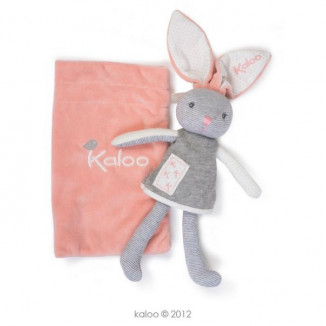 Doudou pantin lapin+pochette Zen KALOO Corail