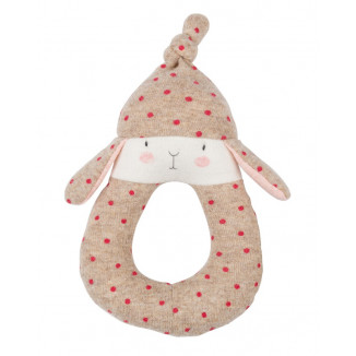Hochet anneau lapin pois MOULIN ROTY Les Petits Dodos