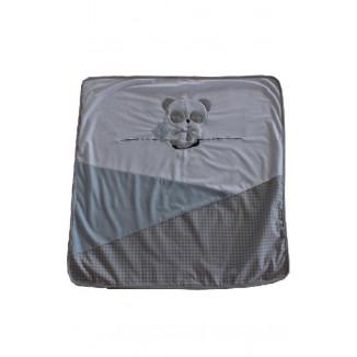 Couverture naissance bleue 80x80 LES CHATOUNETS Panda