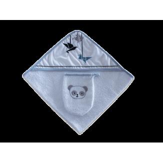 Sortie de bain + gant bleu LES CHATOUNETS Panda