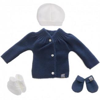 Lot de naissance en tricot 0-1m MLT Bleu nuit et blanc