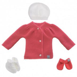 Lot de naissance en tricot 0-1m MLT Framboise et blanc