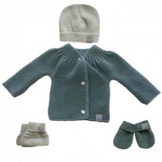 Lot de naissance en tricot 0-1m MLT Gris vert/Vert d'eau