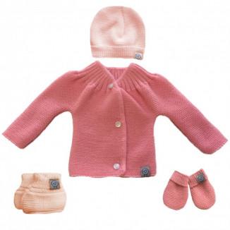 Lot de naissance en tricot 0-1m MLT Pêche et rose poudré