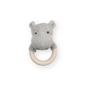 Hochet de dentition Soft Knit Hippo JOLLEIN Gris/Ciel