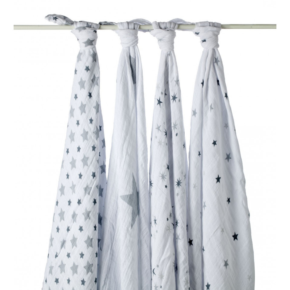 Maxi lange 120 coton etoiles grises lot de 4 ADEN ANAIS