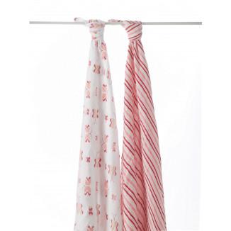 Maxi lange 120 coton lot de 2  motif rose ADEN ANAIS