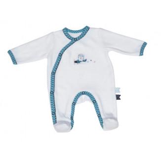 Pyjama velours Naissance blanc turquoise SAUTHON New Lazare ... cb42a80eaac