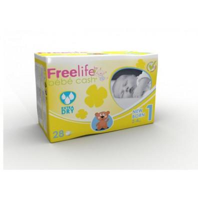Couches BÉBÉ CASH Free Life Newborn 2/4Kg x 28