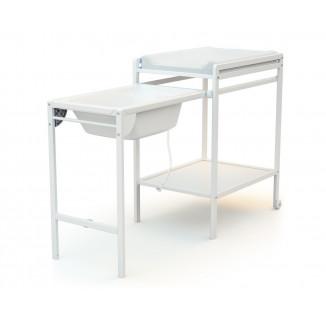 Table à langer coulissante avec baignoire AT4 Blanc