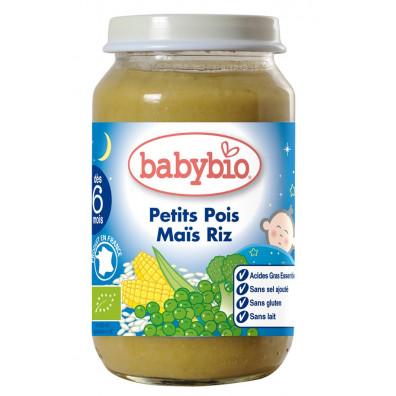 Petit Pot Bonne Nuit BABYBIO Petits pois Maïs Riz 200g +5mois