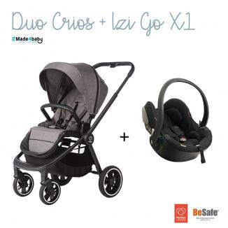 Pack Duo Poussette Crios PERICLES Gris Lave et Siège auto IZI Go X1 BESAFE Black Cab
