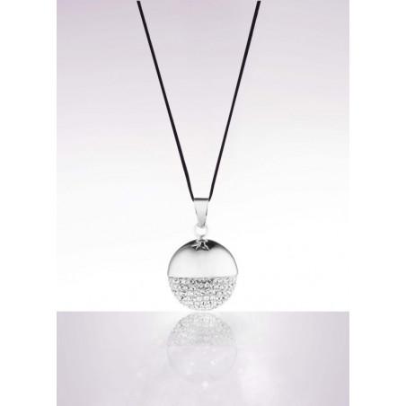 Bolas de grossesse cordon noir CACHE CŒUR rhodium/ crystal de swarovski bola sphere chic