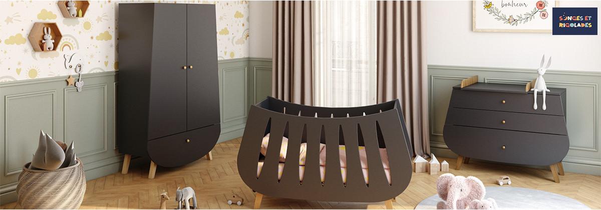 Chambre Trapèze Gris Anthracite par Songes & Rigolades