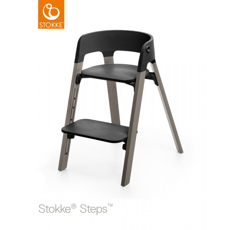 Chaise Haute StepsTM STOKKER Noire Gris Tempete